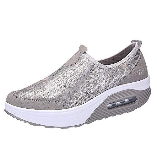 Honestyi Baskets Femme Fond Epais Chaussures de Running Tissage Volant Surface Nette Sneakers Basses Casual Sports Shoes Elastique Respirant Baskets Printemps et Automne Chaussures Sneakers