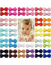 JOYOYO 50 clips para el pelo de bebé mini lazos de 5 pulgadas con cinta completa cubierta antideslizante clips de pelo pequeños para el pelo del bebé, niños pequeños