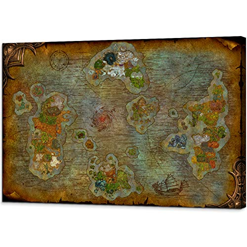 World Map of Warcraft Canvas Artwork Retro HD Map Painting Azeroth Game Poster Stretched and Framed Ready to Hang for Boy for Game Room Decor (24''H x 36''W)