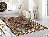 CASPIAN GHOM echter klassischer Orient Felderteppich handgeknüpft in rot-beige, Größe: 170x240 cm - 3