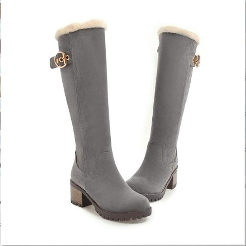 FMWLST Stiefel Stiefel Weibliche Schnee Stiefel 6 cm High Heel Damenschuhe Winter Party Schuhe  Markenverkauf