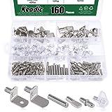 Keadic 160Pcs Hardware Heavy Duty Shelf Pin Kit, 5 Styles Cabinet Support Pegs Holder Metal Nickel (5mm & 6mm))