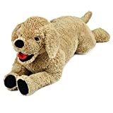 LotFancy 27in Dog Stuffed Animals, Cuddly Golden Retriever Stuffed Animals, Dog Stuffed Animal Plush Toy, Large Stuffed Dog, Gifts for Kids, Pets on Birthday Party Favors Thanksgiving Xmas, Beige