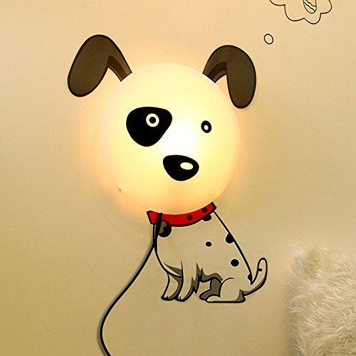 YHMLSH 3D Nuit Lumière, LED Lampe De Chevet Stickers Muraux De Bande Dessinée Creative Enfants Chambre Mur Lampe Papier Peint Fleur Mur Lampe Chambre (Color : Dog)