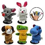 OYEFLY Baby Fingerpuppen Set Familie Fingerpuppen Set für Baby und Kinder Kinder Plüsch Tier Handpuppen Set, Plüsch Tier Set für Kinder Geschichte Zeit Familienmitglieder (5Pcs)