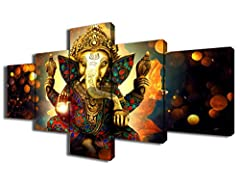 Wall Art Canvas prints 5 Panels Frame size:10x12inchx2pcs,10x16inchx2pcs,10x24inchx1pcs,(25cmx30cmx2,25cmx40cmx2,25cmx60cmx1) The Canvas Print is already Perfectly Stretched on Wooden Frame with Hooks Mounted on each Panel for Easy Hanging out of Box...