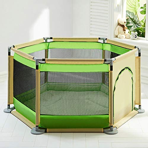 LJYY Folded Playpen With Mattress For Baby Metal Fence 6 Panel Kids Activity Center For Boys Girls Outdoor Indoor Home,Red