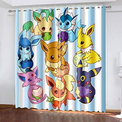 Ssghio Occultant Rideaux Pokémon 3D NuméRique Impression Rideaux, Protection de Privée, Super Doux Isolant Thermique Rideaux pour Chambre, 200x160cm