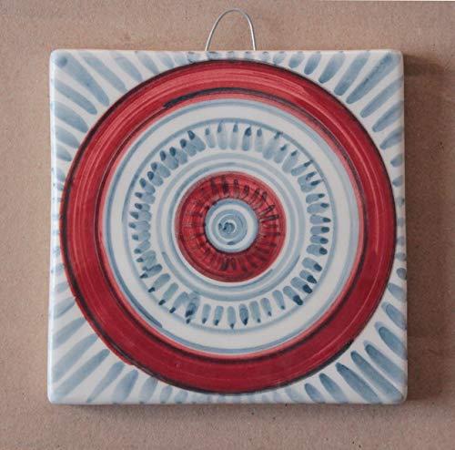 Mattonella geometrica- Mattonella di ceramica decorata a mano, dimensioni cm 10,1x10,1x1 cm .Made in Italy toscana,Lucca.Creata da Davide Pacini.