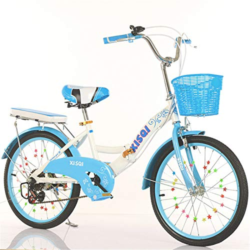 ALUNVA Bicicleta Compacta,Bicicleta Portátil,Mini Bicicleta Plegable Ligera,Bicicleta para Niños,Bicicleta Plegable,Azul Negro-Azul 4 20 Pulgadas