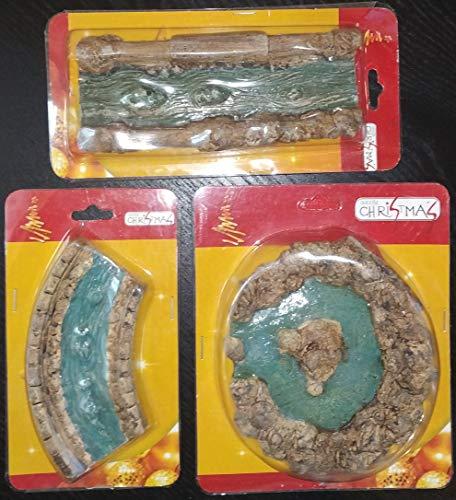 DUE ESSE SRL Ruscello con Laghetto in Pietra Composto da 3 Pezzi Differenti per presepe, diorami o Miniature (es. Laghetto Ø 12cm)