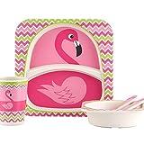 Lazeny Kindergeschirr Set, Baby Geschirr Bambus 5 teilig Kinder Besteck Set (Teller,Schüssel,Tasse,Gabel,Löffel) Kinderteller Trinkbecher Umweltfreundlich Taufgeschenk Geschenkverpackung-Flamingo