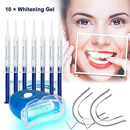 Kit de Blanqueamiento Dental Gel Blanqueador de Dientes Profesional Teeth Whitening Kit, Para Manchas de Humo, Dientes Negros, Dientes Amarillos-10x3ML Gel, 1x Luz LED, 2x Bandeja Dental