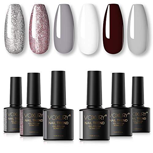 VOXURY Gel Nagellack Set, Glitter Funkeln Color Series 6 Farben Shellac Soak Off UV Nagellack Gel Lack für Nail Art 10ML