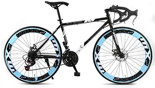 Legou 26 Pollici Bici da Strada Bike Bicicletta per Adulti, con Doppio Freno A Disco,24 velocità Bicicletta 85% Assemblata Unisex/Bule