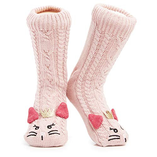 Heart women/'s soft fluffy sofa and bed socks in pale pinkBy Thought