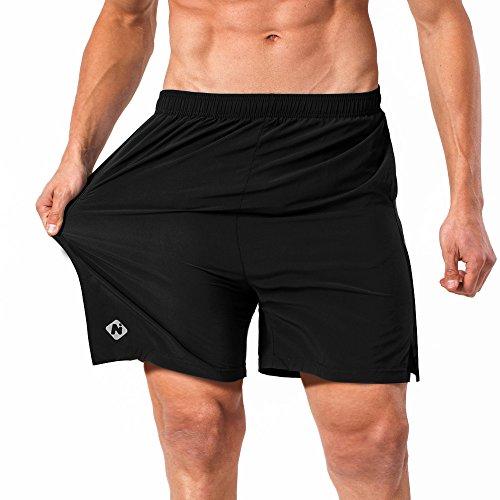 NAVISKIN Pantalones Cortos para Hombres Deporte Secado Rápido con Bolsillos de Cremallera Cordón Ligero Transpirable Elástica 13cm