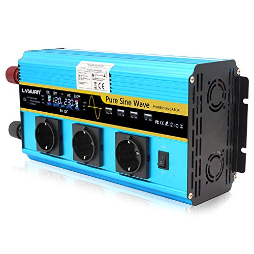 Yinleader Convertisseur 12v 220v Pur Sinus 3000W/6000W Onduleur Pur Sinus 3 européennes sockets et 4 ports USB LCD Affichage de la tension (avec télécommande)