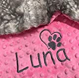 Puppy Blanket, Personalized Dog Blanket, Gray Paw Print Blanket, Puppy Gift, Dog Christmas Gift, personalized dog blanket, Dog Crate Blanket, charcoal fawn