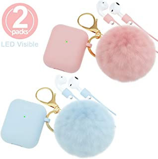 AirPods Case,BRG Soft Cute Silicone Cover for Apple Airpods 2 & 1 Cases with Pom Pom Fur Ball Keychain/Strap/Earbuds Accessories (Front LED Visible)