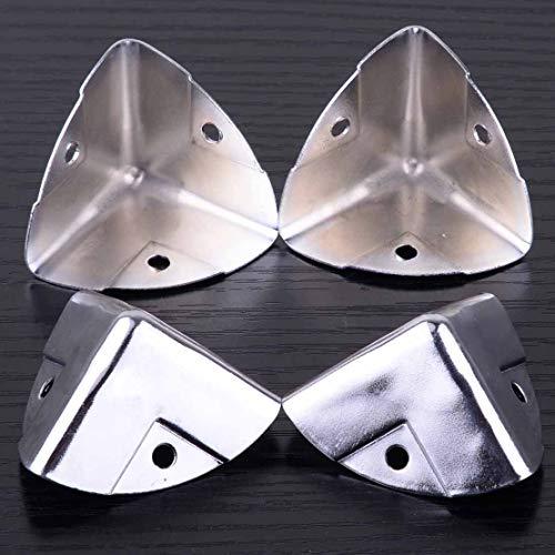 NIKOVAS 4Pcs Silver Metal Wooden Case Corner Angle Brace Protectors for Trunk Box Chest Flightcase