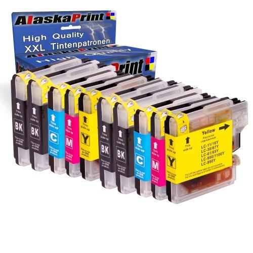 Alaskaprint 10x kompatible Druckerpatronen als Ersatz für Brother LC-980 LC985 LC1100 für DCP-145C DCP-163C DCP-165C DCP-167C DCP-185C DCP-195C DCP-365CN DCP-373CW DCP-375CW DCP-377CW DCP-385C