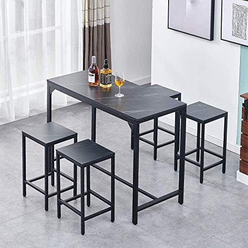 Juego de Bar conMesa de Bar deEfecto mármol Negrocon 4 taburetes Juego de Barra para el hogar Juego de encimera de Cocina para el Desayuno Mesa de Comedor Alta Moderna con 4 sillas