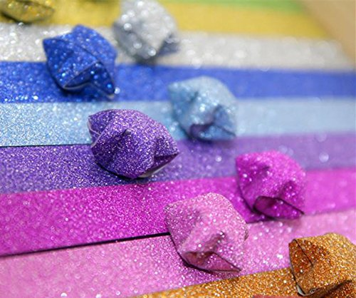 Demarkt 84x Origamipapier Origami Sterne Papierstreifen Handwerk Papier 24.5x1cm