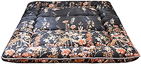Black Floral Japanese Futon Floor Mattress, Bed Mattress Topper Portable Thick Sleeping Pad Floor Bed Roll Up Camping Mattress Folding Couch Bed Mattress Pad for Guest Room, Full Size