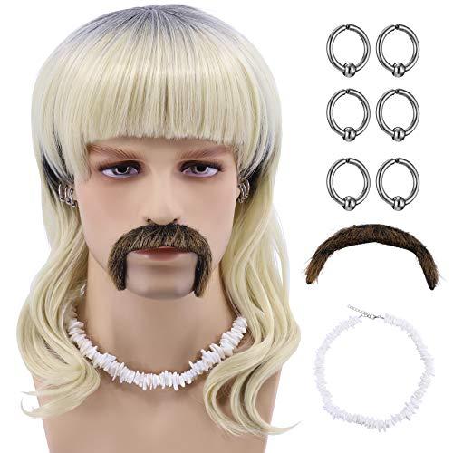 Blonde Tiger King Joe Exotic Wig for Men Costume Set (6 Earrings - Mustache - Choker - Wig) (Wig + White Choker)
