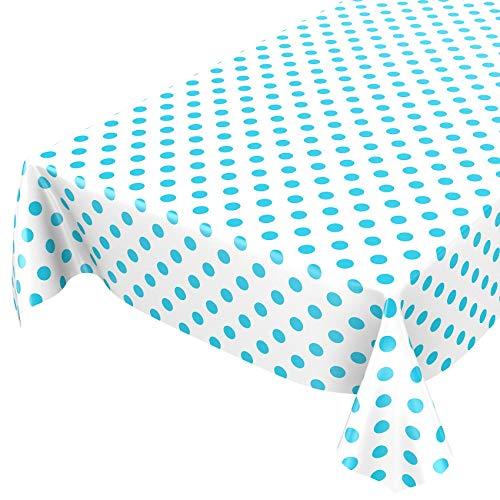 ANRO Wachstuchtischdecke Wachstuch Wachstischdecke Tischdecke Türkis Mint Weiß Tupfen Punkte Gepunktet Dots 100 x 140cm