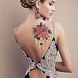 3PCs-Brown Adesivo per trasferimento di tatuaggi di moda Adesivo per corpo grande tatuaggio adatto per uomini e donne Impermeabile rimovibile non tossico Adesivo per tatuaggio impermeabile Oro ro
