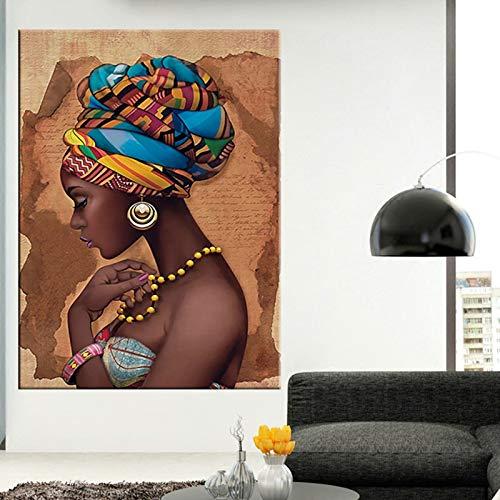 Wxuuly Arte Africano Negro y Dorado Mujer Pintura al óleo sobre Lienzo Cuadros Carteles e Impresiones Cuadro de Arte de Pared escandinavo para Sala de Estar A4 60x90 CM (sin Marco)
