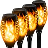 Swonuk 4pcs Small Solar Flame Torch Light, Waterproof Flashing Flame Flashlight, Outdoor Solar Spotlight, Landscape Decorative with Automatic Switch from Dusk to Dawn, Safety Path Light for Garden