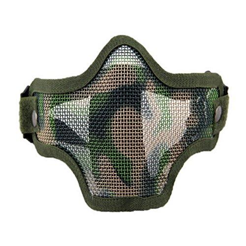 QMFIVE Taktische stahlmatten Masken hälfte Gesichtsmaske schutzkleidung für Airsoft Paintball Cosplay (JC)