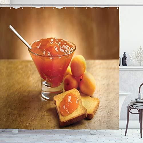 ABAKUHAUS Abrikoos Douchegordijn, Juicy Apricot Jam en Brood, stoffen badkamerdecoratieset met haakjes, 175 x 240 cm, Apricot Gebrande Oranje