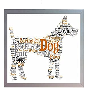 Framed Pet Dog Word Art A4 Print. Fun Dog Photo Picture Present Keepsake Gift for Dog Owner, Friend, Family, Vet.
