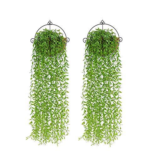 PNNP 2 Stück Kunstpflanze Hängend, Kunstpflanzen Efeu Weidenblätter Plastikpflanzen, Hängepflanze Künstlich Für Draussen Balkon Wanddekoration Hochzeit Garten Hängend Vine Pflanze Deko, MEHRWEG