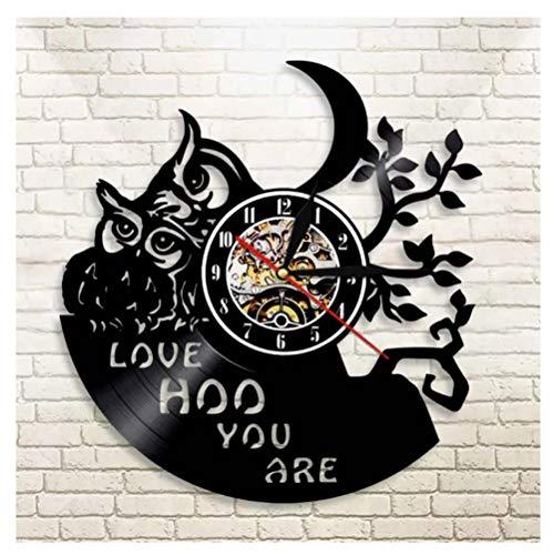 Liushenmeng Vinilo Reloj de Pared Familia búho Reloj Disco de Vinilo Decor Art Vinilo Reloj decoración única Hecha a Mano decoración Idea de Regalo Creativo Vinilo diámetro 30 cm