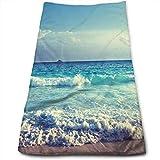 huibe Ocean Waves Seychelles Island Beach en Sunset Toallas de baño para Hotel-SPA-Piscina-Gimnasio-Baño - Toallas absorbentes Super Suaves absorbentes