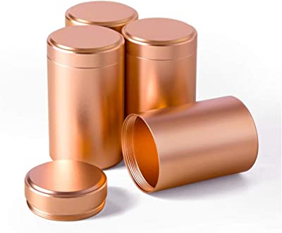 Tea Tins Canister Set with Airtight Lids Home Kitchen Canisters for Tea Sugar Coffee Storage Loose Leaf Tea Tin Containers Storage nut jar(Rose Gold1, 4PC/4.7OZ)