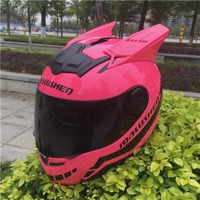 MYSdd Motorradhelm Damen Kinder Offroad Motorrad Ausrüstung mit Brille Schutz Katze Helm Persönlichkeit Integral Motorradhelm - Pink X XXL