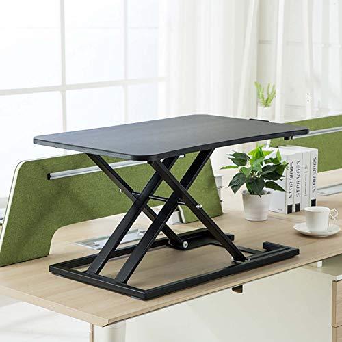 GSKJ En Pie Escritorio Convertidor,X-Tipo Estructura Pc Laptop Desk,Escritorio De Pie,Sit Stand Desk Adujstable,para El Hogar Y La Oficina-Negro Versión actualizada