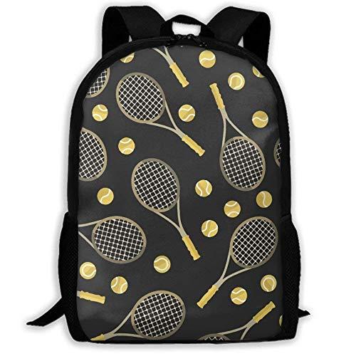 XCNGG Erwachsenen-Vollformat-Druckrucksack Lässiger Rucksack Rucksack Schultasche Lightweight Durable Backpack Daypack for School Travel Hiking, Funny Colourful Tennis Racquets and Tennis Balls