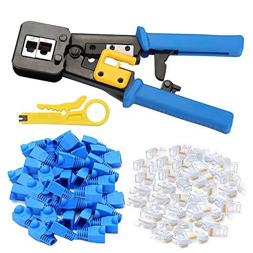 Juego de herramientas de crimpado para terminales RJ45, conectores de extremo regulares, color azul, con tapas, pelacables, 102 unidades