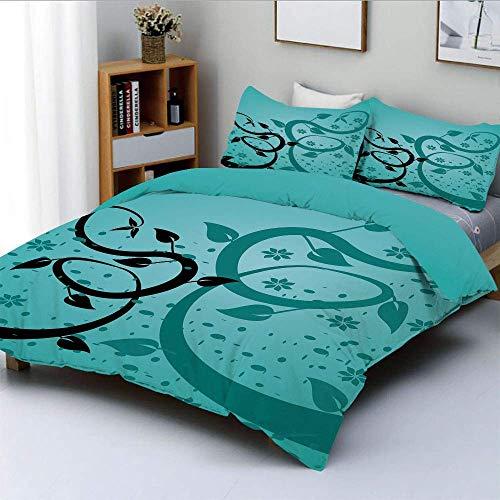 Soefipok Bettwäscheset, EIN abstraktes Blumenarrangement Naturwindeln Design Flora Zeichenstil Dekorativ 3-teiliges Bettwäscheset mit 2 Kissenbezügen, Türkisschwarz, Be