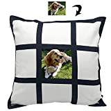 Veiai Sublimation Blank Pillow Case, DIY Pillow Blank Cushion Cover 16 x 16 Inch for Sublimation Printing (9-Panel)