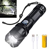 Rechargeable Led Flashlight, 10000 Lumens Super Bright Flashlights High Lumens tactical Flashlights with 26650 Batteries Included, Zoomable, 5 Modes, Waterproof Flashlight for Emergencies, Camping