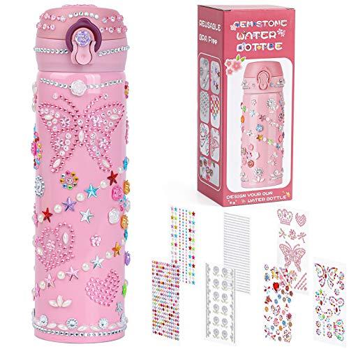 Dekorieren Sie Ihre eigene Wasserflasche für Mädchen mit glitzernden Strass-Edelsteinaufklebern! BPA Free 20 oz Kinder Wasserflasche für Mädchen DIY Kunst und Handwerk Geburtstagsgeschenk für Kinder
