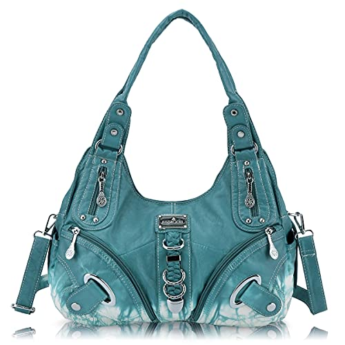 Angelkiss Women Multiple Pockets Purses and Handbags Washed Leather, Two Top Zippers Closure, L.blue